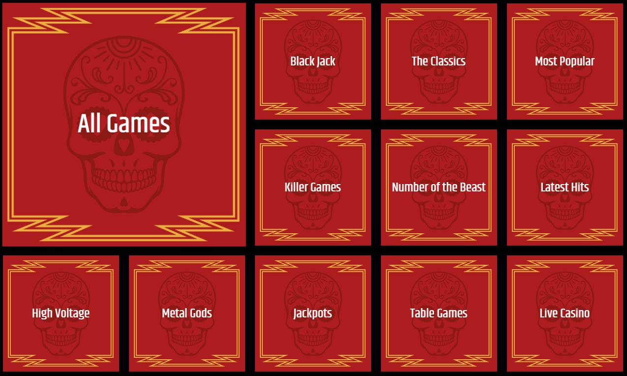 metalcasino kategorier