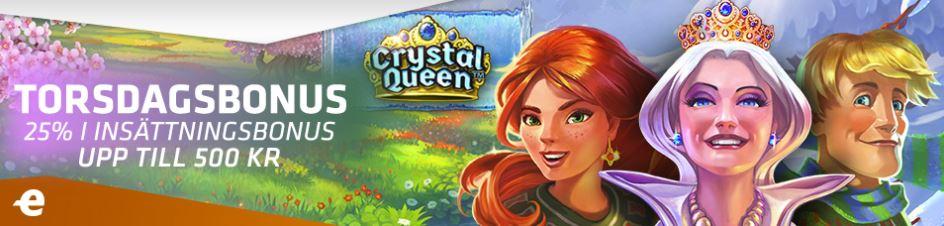 Spelsloten Crystal Queen karaktärer och expekt torsdagerbjudande med 25% upp till 500 kr i bonus